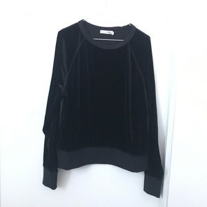 Rag and Bone Black Velvet Pullover Sweater